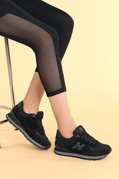 Hammer Jack Kadın Siyah Füme Deri Spor Ayakkabı