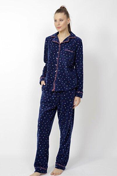 VİENETTA Kadın Lacivert Uzun Kol Polar Yıldız Desenli Gömlek Tarzlı Pijama Takım