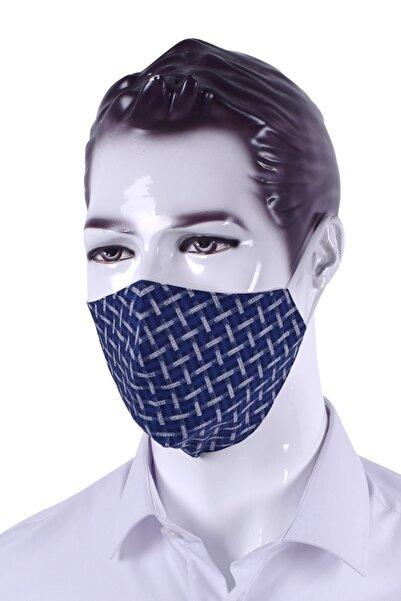 Ottomoda Lacivert Desenli Antibakteriyel Yıkanabilir Maske