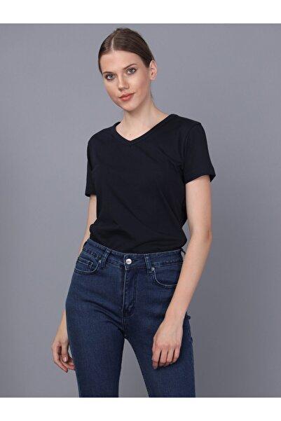 Basics&More Kadın Lacivert V Yaka T-Shirt