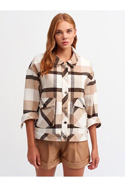 Dilvin Kadın Camel Ekose Ceket 6850