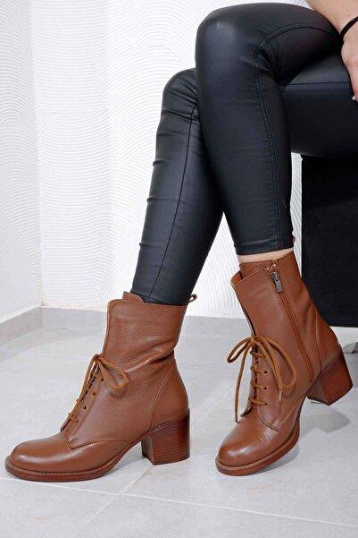 Tinka Bell Shoes 4090 Kadın Bot Taba Cilt