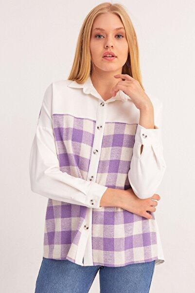 Fulla Moda Kadın Ekose Desenli Gömlek