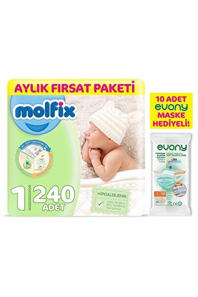 Molfix Bebek Bezi 1 Beden Yenidoğan Aylık Fırsat Paketi 240 Adet + Evony Maske 10'lu Hediyeli