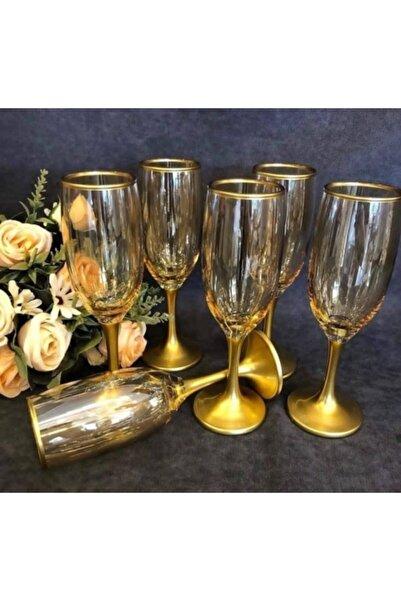 DiamondCrystal Misket Gold Bal Rengi Kahve Yanı Su Bardağı Ayaklı Su Bardağı Takımı