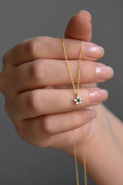 Papatya Silver 925 Ayar Gümüş Gold Kaplama Minimal Yeşil Taşlı Çiçek Kolye