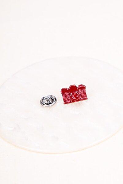 BAYEFENDİ Kırmızı Analog Fotoğraf Makinesi Metal Rozet 2 cm