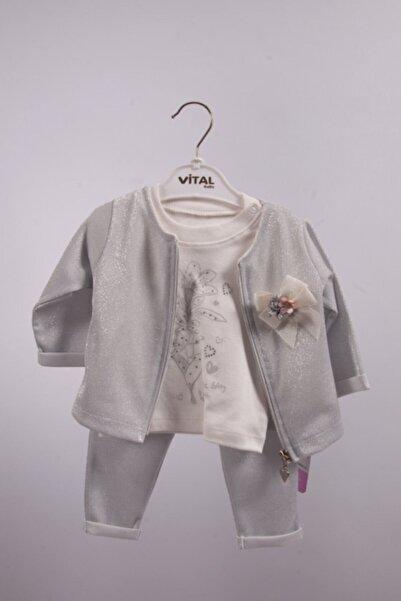 Vital Kız Bebek Beyaz Gri Simli 3lü Takım