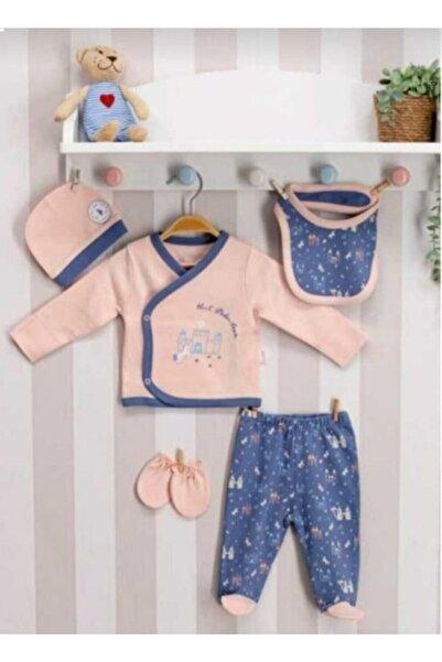 U.S. Polo Assn. Lisanslı Somon Bebek 5'li Hastane Çıkış Seti Usb019