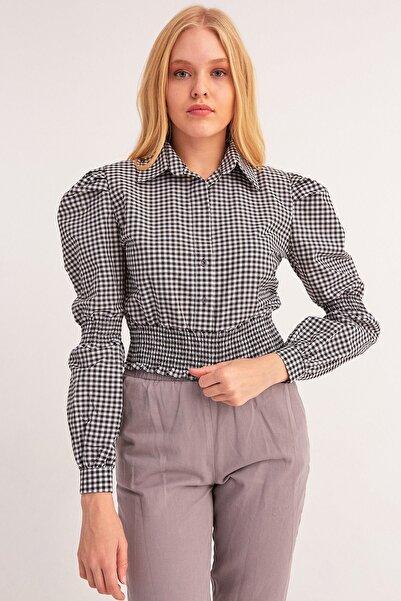 Fulla Moda Kadın Siyah Pötikare Desenli Gipeli Bluz