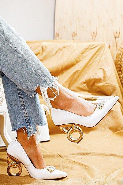 Limoya Kadın Beyaz Rugan Taşlı Halka Topuklu Stiletto