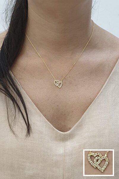 Marjin Kadın Altın Zirkon Taşlı Seven Kalpler Figürlü Kolye