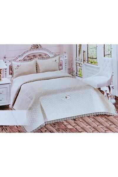Bella Krem Home Çift Kişilik Abiye Yatak Örtüsü Güpürlü Dantelli 250*260cm