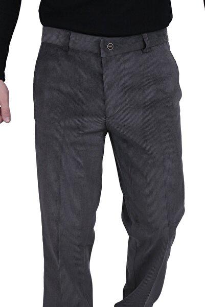 Canelia Erkek Koyu Gri Kadife Yan Cep Klasik Kesim Pantolon