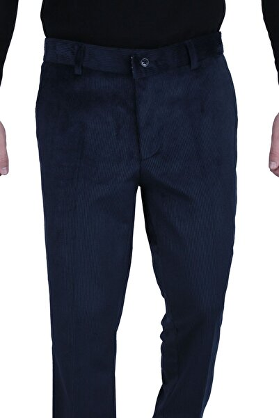 Canelia Lacivert Renk Kadife Yan Cep Klasik Kesim Erkek Pantolon
