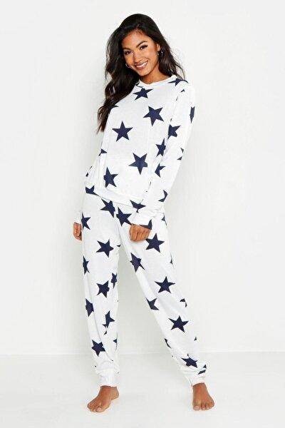 the DIFFerent Kadın Beyaz Mavi Yıldız Pijama Set