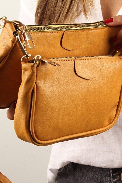 Luwwe Bag's Kadın Hardal Sarı Yavrulu Çiftli Baget Omuz Çantası (20394)