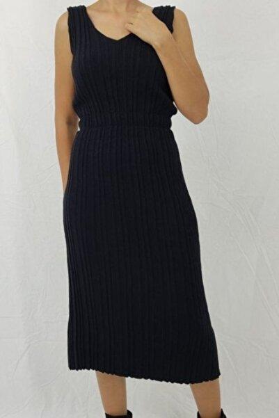 Nisan Triko Kadın Siyah V Yaka Gipeli Elbise