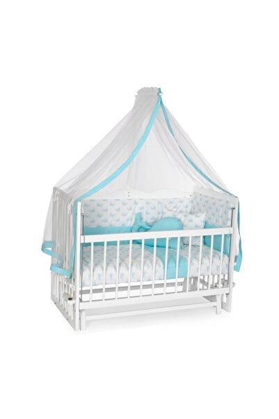 Bambidoo Asya Beyaz 60x120 Anne Yanı Beşik Ahşap Sallanır Beşik 5 Kademeli - Mavi Balina Uyku Setli Yataklı