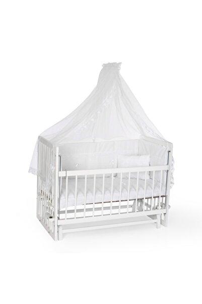 Bambidoo Beyaz 60x120 Anne Yanı Beşik Ahşap Sallanır Beşik 4 Kademeli -Krem Güpürlü Uyku Setli Yataklı