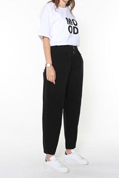 ALLDAY Kadın Siyah Doğal Kumaş Pileli Slochy Pantolon