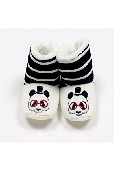 Bebe Unisex Bebek Siyah Beyaz Gözlüklü Panda Baskılı Panduf