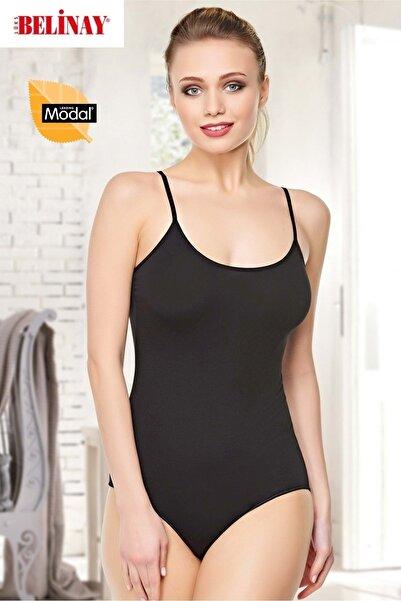 Belinay Ip Asklılı Çıtçıtlı Body Modal Yumuşak Bayan Atlet 0860 - - Siyah - M
