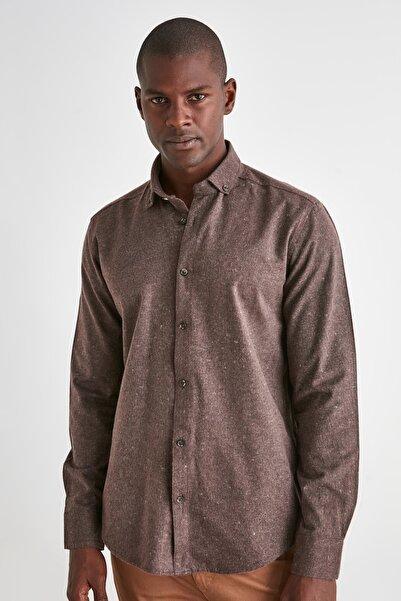 TRENDYOL MAN Kahverengi Erkek Slim Fit Oduncu Melanj Gömlek TMNAW20GO0094