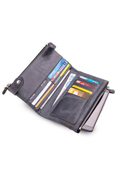 Anı Yüzük Double Bag Vintage Hakiki Crazy Deri Cep Telefonu Bölmeli Fermuarlı Unisex El Cüzdanı Indigo