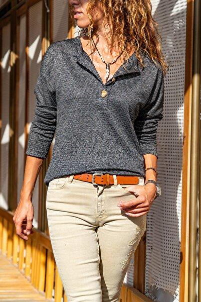 Güneşkızı Kadın Haki Kendinden Desenli Düğmeli Salaş Bluz GK-BST2964