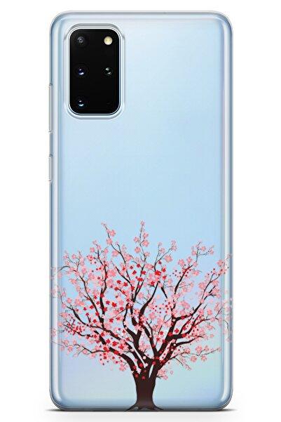 Lopard Samsung Galaxy S20 Plus Kılıf Kiraz Tomurcuk Arka Kapak Koruma Desenli Full Koruyucu
