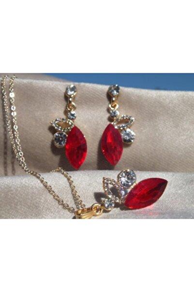 FEELİNG Kadın Kristal Derin Kırmızı Taşlı Kolye Küpe Set