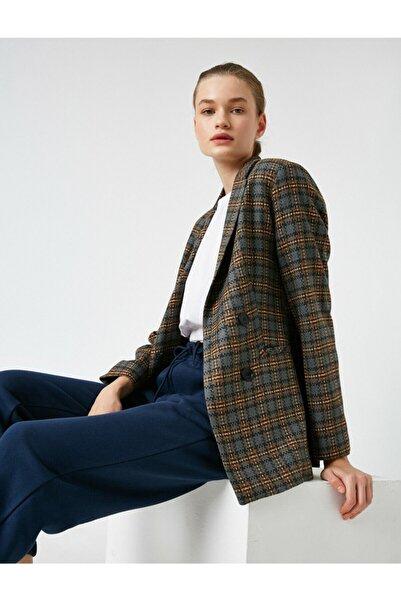 Koton Kadın Kahverengi Düğmeli Ekose Ceket