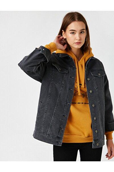 Koton Kadın Siyah Pamuklu Kot Ceket