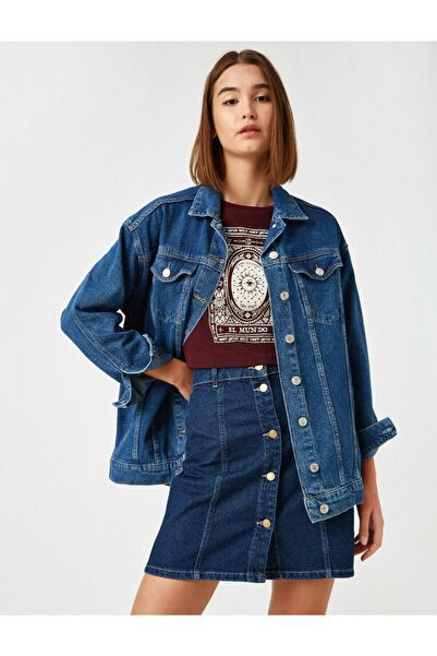 Koton Kadın Pamuk Kot Ceket