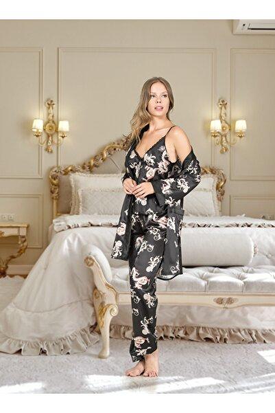 DOREA Kadın Siyah Üçlü Saten Pijama Takımı Ang0174