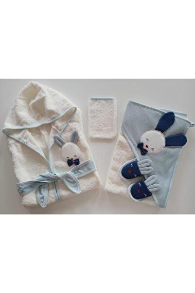 Gaye Bebe Erkek Bebek Mavi Sevimli Tavşan Bornoz Takımı