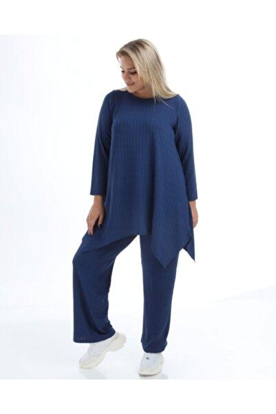 Z PLUS Kadın Mavi Beli Lastikli Pantolon Tunik Takım