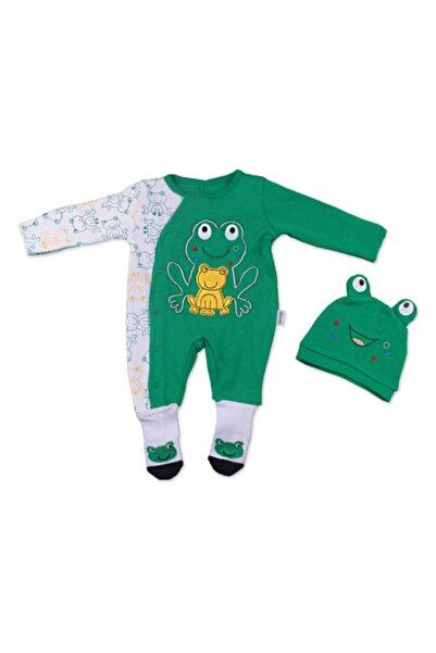 Albimini Bebek Yeşil Kurbağa Figürlü Şapkalı Çoraplı Tulum 11591