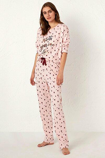 LC Waikiki Kadın Açık Pembe Baskı Pijama Takım 0WAU41Z8