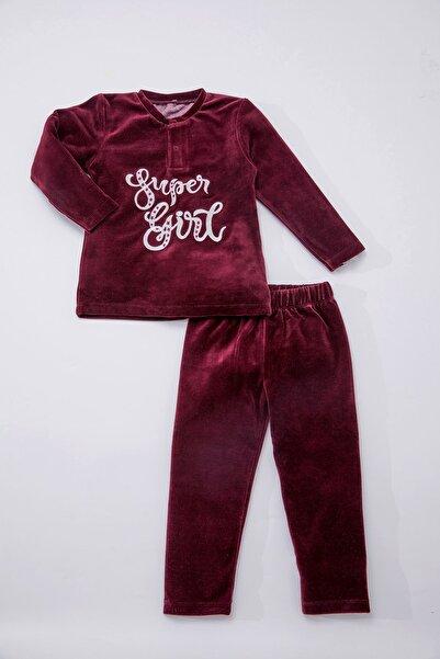 Luggi Baby Kız Çocuk Kadife Eşofman Takımı Bordo Super Girl 4869-BOR