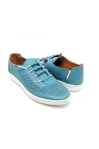 Delta Kadın Turkuaz Günlük Deri Rahat Ayakkabı