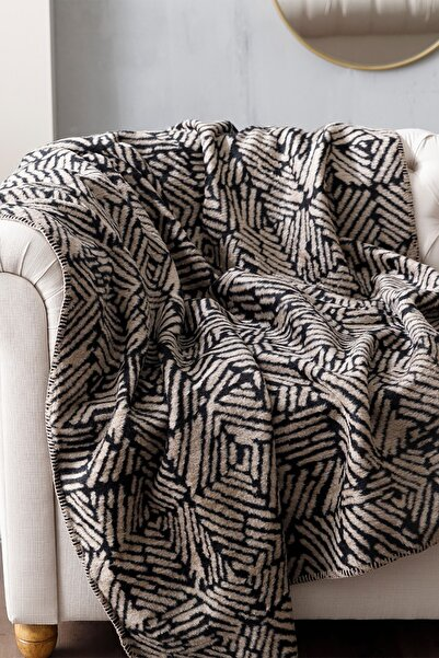 English Home Siyah Arty Stripe Akrilik Tv Battaniye 130x170 cm