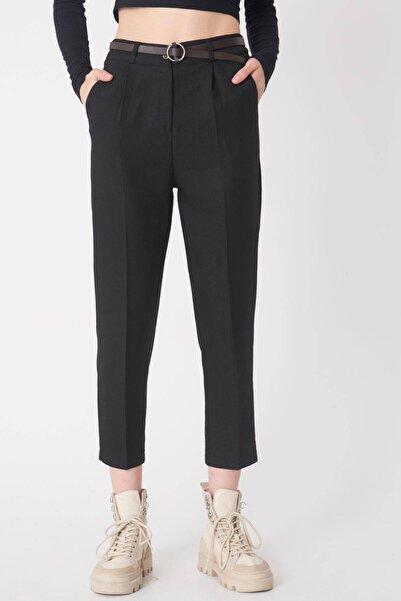Addax Kadın Siyah Kemerli Pantolon PN20-139 - T9 ADX-0000023324