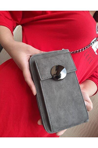DS ÇANTA Kadın Gri Omuz Askılı Cep Telefonlu Cüzdan Ve Çanta