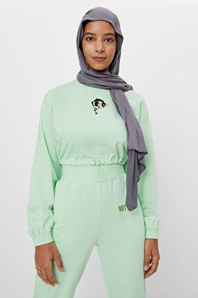 Bershka Kadın Yeşil Girls Baskılı Crop Fit Sweatshirt