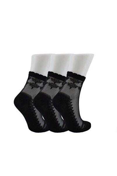 Tutku Kadın Siyah Simli Patik Çorap 6'lı