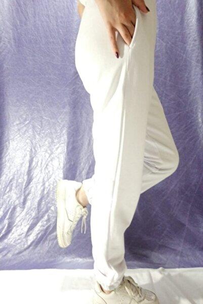 Modoo Tekstil Kadın Beyaz Paçası Lastikli Eşofman Altı