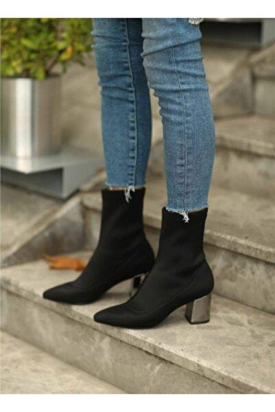 İNCEAYAKKABI Topuklu Çorap Bot Siyah