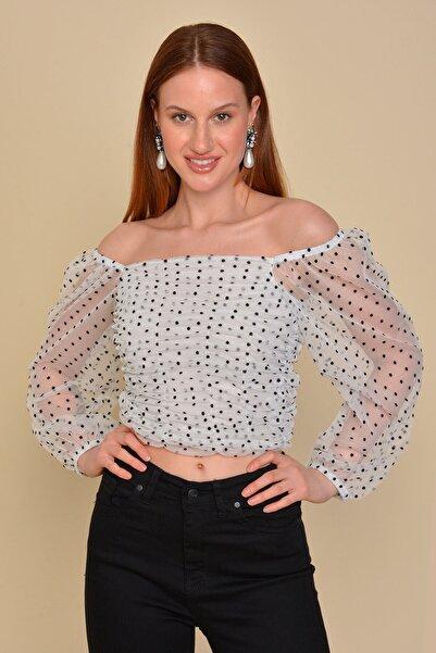Mossta Kadın Beyaz Gipeli Puantiye Bluz